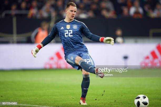 Marc-Andre ter Stegen of Germany passes the ball during the international friendly match between Germany and Spain at Esprit-Arena on March 23, 2018...