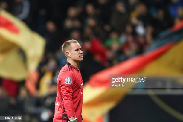Marc-Andre ter Stegen of Germany reacts during the UEFA Euro 2020 Qualifier between Germany and Northern Ireland at Commerzbank Arena on November 19,...