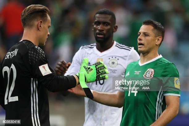 MarcAndre ter Stegen of Germany shakes hands with Javier Hernandez of Mexico at the end of the FIFA Confederations Cup Russia 2017 SemiFinal match...