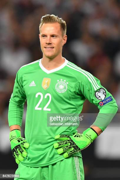 Marc-Andre ter Stegen of Germany smiles after the FIFA 2018 World Cup Qualifier between Germany and Norway at Mercedes-Benz Arena on September 4,...