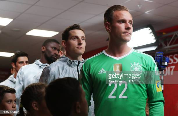 MarcAndre ter Stegen of Germany waits to lead his team out prior to the FIFA Confederations Cup Russia 2017 Final between Chile and Germany at Saint...