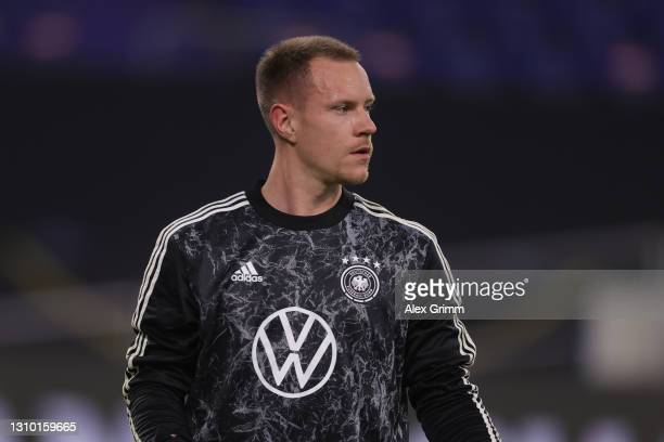 Marc-Andre ter Stegen of Germany warms up prior to the FIFA World Cup 2022 Qatar qualifying match between Germany and North Macedonia at...