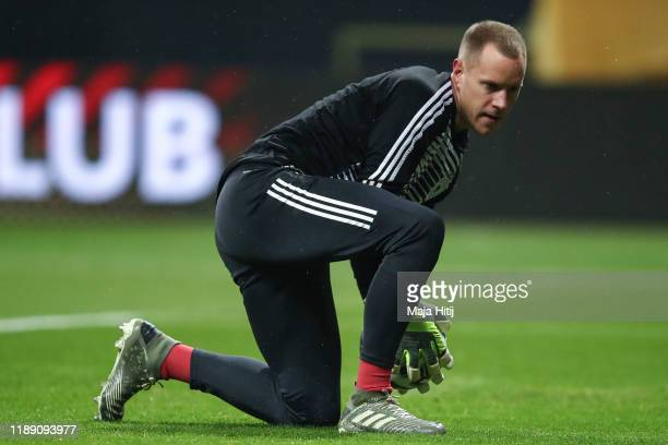 Marc-Andre ter Stegen of Germany warms up prior to the UEFA Euro 2020 Qualifier between Germany and Northern Ireland at Commerzbank Arena on November...