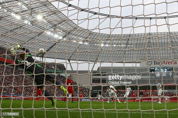 MarcAndre ter Stegen of Moenchengladbach gets the forth goal of Gonzalo castro of Leverkusen during the Bundesliga match between Bayer 04 Leverkusen...