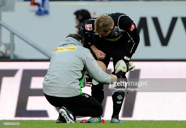 MarcAndre ter Stegen of Moenchengladbach is injured during the Bundesliga match between TSG 1899 Hoffenheim and Borussia Moenchengladbach at...