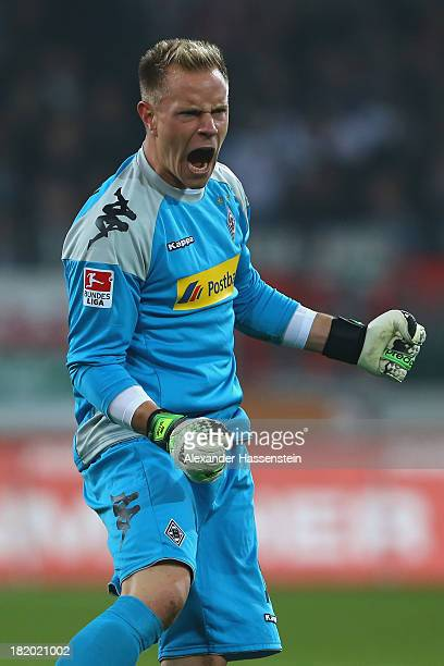 Marc-Andre ter Stegen of Moenchengladbach reacts during the Bundesliga match between FC Augsburg and Borussia Moenchengladbach at SGL Arena on...