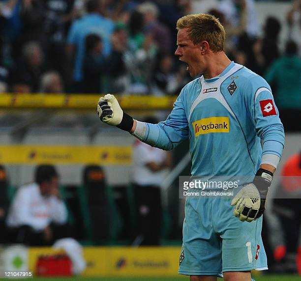 Marc-Andre Ter-Stegen celebrates after his team scored their opening goal during the Bundesliga match between Borussia Moenchengladbach and VfB...