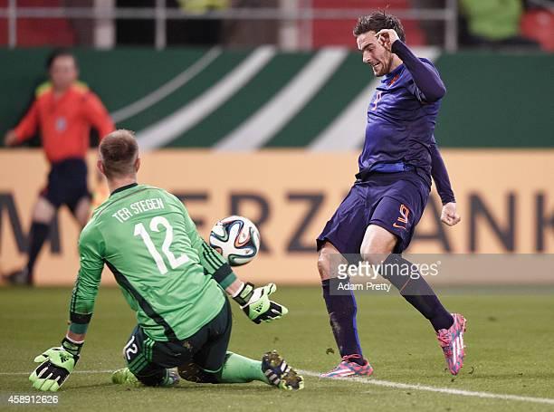 Marc-Andre Ter-Stegen of Germany saves a goal attempt from Vincent Janssen of the Netherlands in action during the U21 Germany v U21 Netherlands...