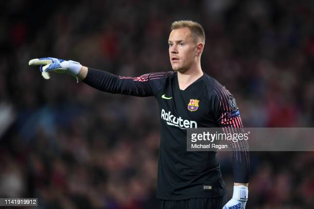 MarcAndreter Stegen of Barcelona in action during the UEFA Champions League Quarter Final first leg match between Manchester United and FC Barcelona...