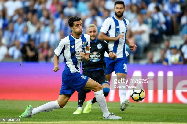 Marcano of FC Porto competes for the ball with Andone of RC Deportivo La Coruna during the PreSeason Friendly match between FC Porto and RC Deportivo...