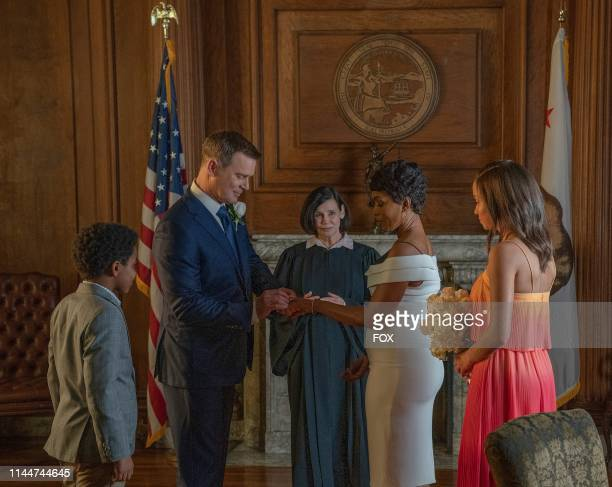 Marcanthonee Jon Reis Peter Krause Angela Bassett and Corinne Massiah in the This Life We Choose season finale episode of 911 airing at a special...