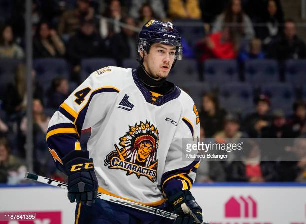Marc-Antoine Pepin of the Shawinigan Cataractes skates during his QMJHL hockey game at the Videotron Center on October 26, 2019 in Quebec City,...