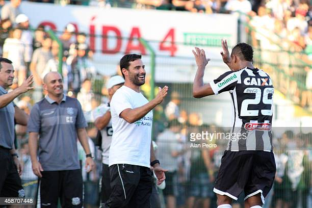 Marcao of Figueirense celebrates during a match between Figueirense and Chapecoense for the Brazilian Series A 2014 at Orlando Scarpelli Stadium on...