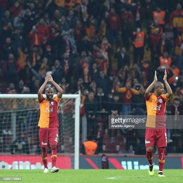 Marcao and Mariano of Galatasaray greet the fans after winning Turkish Super Lig soccer match between Galatasaray and MKE Ankaragucu at Turk Telekom...