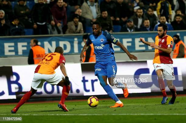 Marcao and Selcuk Inan of Galatasaray in action against Bangaly Fode Koita of Kasimpasa during Turkish Super Lig soccer match between Kasimpasa and...