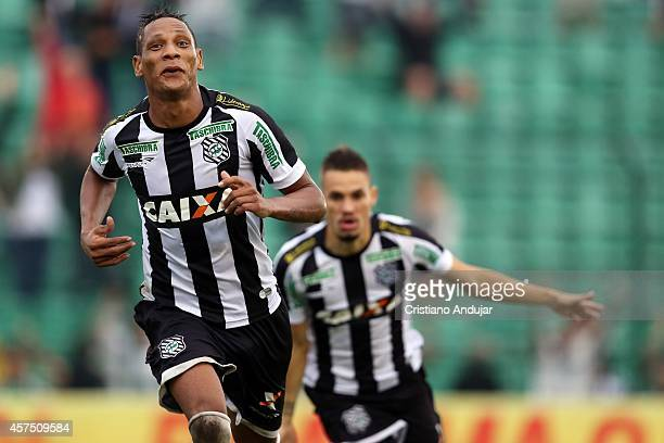 Marcao of Figueirense celebrate his first goal, second of Figueirense, during a match between Figueirense and Coritiba as part of Campeonato...