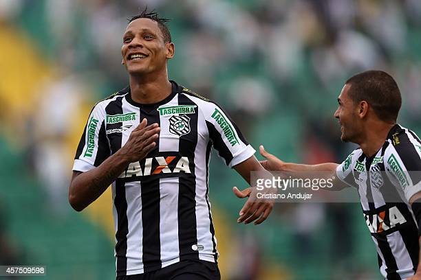 Marcao of Figueirense celebrates his first goal, second of Figueirense, during a match between Figueirense and Coritiba as part of Campeonato...