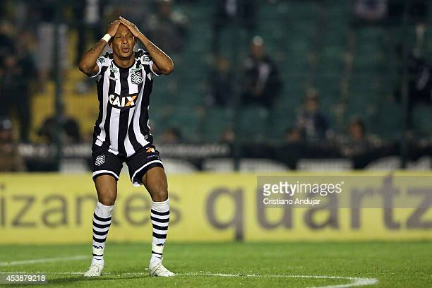 Marcao of Figueirense reacts after missing shot on goal during a match between Figueirense and Botafogo as part of Campeonato Brasileiro 2014 at...