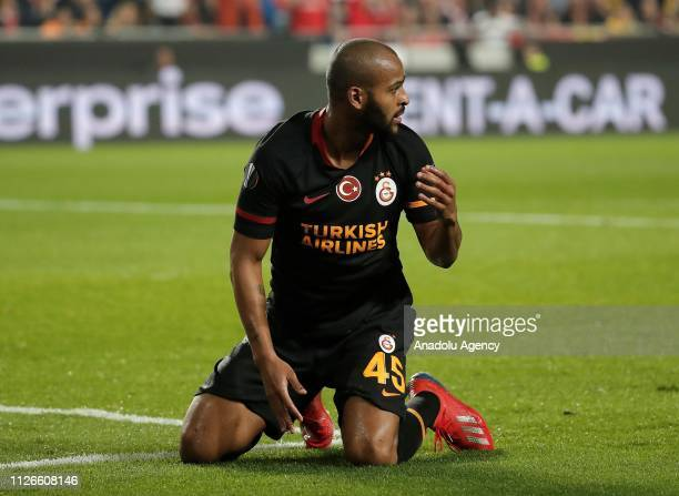 Marcao of Galatasaray gestures during the UEFA Europa League Round of 32 second match between Benfica and Galatasaray at the Luz Stadium in Lisbon...