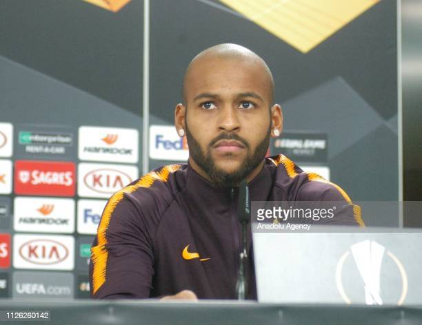 Marcao of Galatasaray holds a press conference ahead of the UEFA Europa League Round of 32 match between Benfica and Galatasaray at the Luz Stadium...
