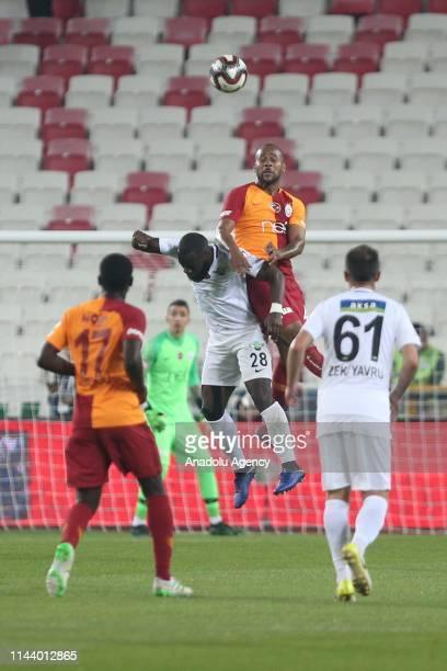 Marcao of Galatasaray in action against Elvis Manu of Akhisarspor during Ziraat Turkish Cup final match between Akhisarspor and Galatasaray at 4...