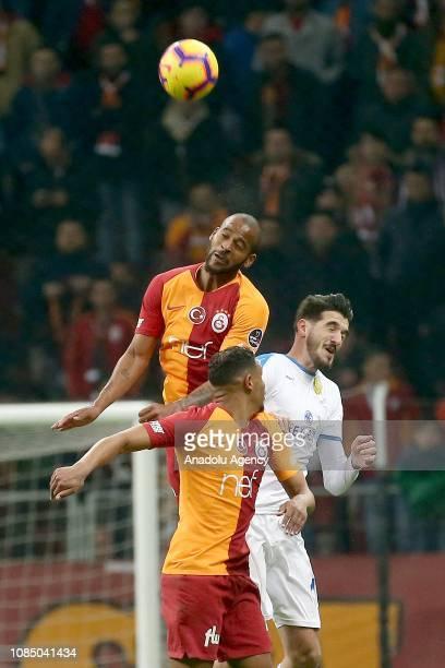 Marcao of Galatasaray in action against Kubilay Kanatsizkus of Ankaragucu during Turkish Super Lig soccer match between Galatasaray and MKE...