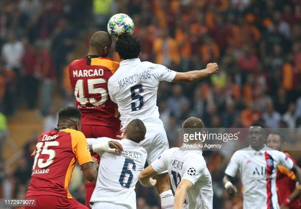 Marcao of Galatasaray in action against Marquinhos of Paris Saint-Germain during the UEFA Champions League group A match between Galatasaray and...