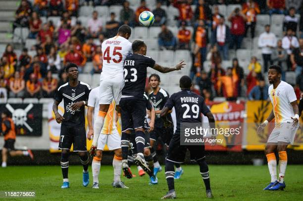 Marcao of Galatasaray in action against Mexer of FC Girondins Bordeaux during a friendly match between Galatasaray and FC Girondins Bordeaux within...