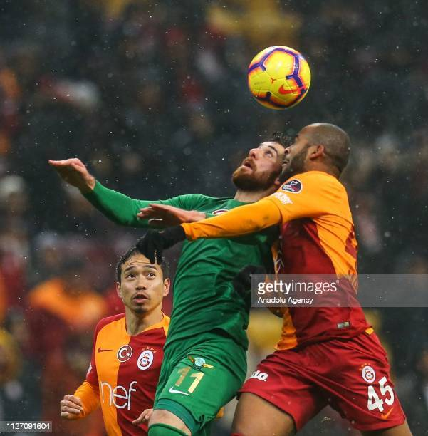 Marcao of Galatasaray in action against Onur Ayik of Akhisarspor during the Turkish Super Lig soccer match between Galatasaray and Akhisarspor at...