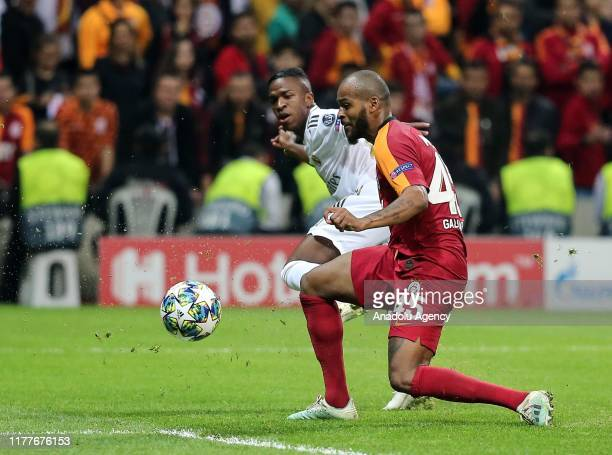 Marcao of Galatasaray in action against Rodrygo of Real Madrid during the UEFA Champions League Group A match between Galatasaray and Real Madrid at...