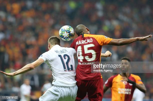 Marcao of Galatasaray in action against Thomas Meunier of Paris Saint-Germain during the UEFA Champions League group A match between Galatasaray and...