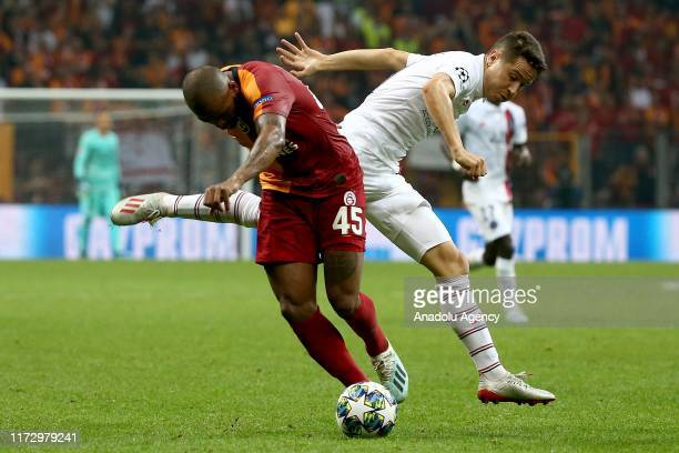Marcao of Galatasaray in action against Thomas Meunier of Paris SaintGerman during the UEFA Champions League group A match between Galatasaray and...