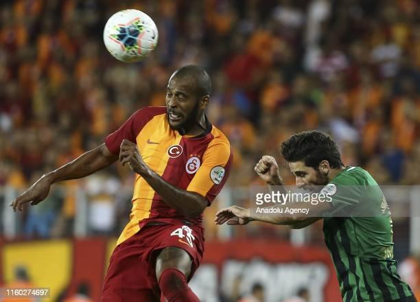 Marcao of Galatasaray in action during 2019 Turkish Super Cup match between Galatasaray and Akhisarspor at Eryaman Stadium in Ankara Turkey on August...