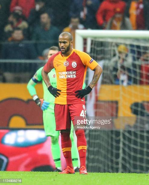 Marcao of Galatasaray reacts during the UEFA Europa League Round of 32 match between Galatasaray and Benfica at the Turk Telekom Stadium in Istanbul,...