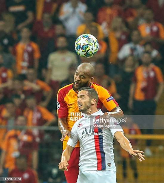 Marcao of Galatasaray vies with Pablo Sarabia of Paris SaintGermain during the UEFA Champions League group A match between Galatasaray and Paris...