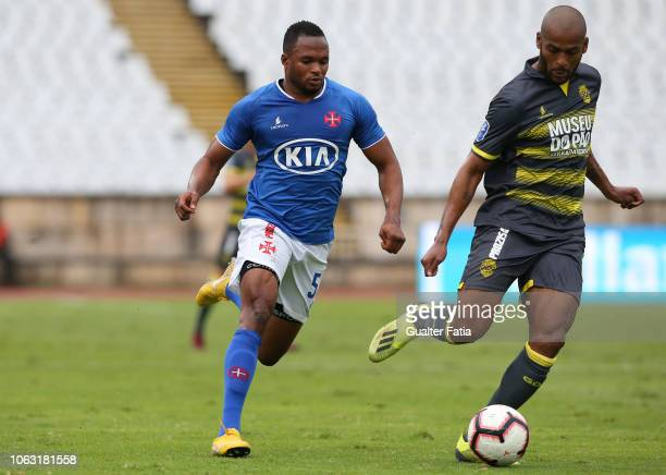 Marcao of GD Chaves with Alhassane Keita of Belenenses SAD in action during the Taca da Liga match between Belenenses SAD and GD Chaves at Estadio...