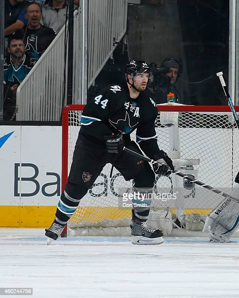 Marc-Edouard of the San Jose Sharks skates after the puck against the Boston Bruins during an NHL game on December 4, 2014 at SAP Center in San Jose,...
