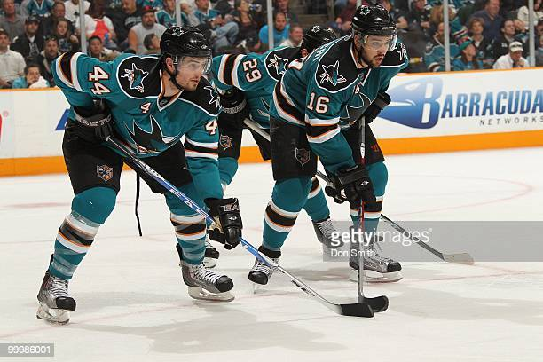 Marc-Edouard Vlasic and Devin Setoguchi of the San Jose Sharks on the faceoff in Game One of the Western Conference Finals during the 2010 NHL...