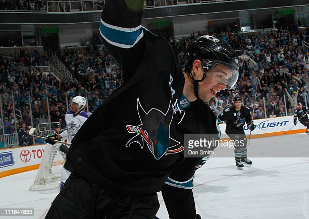 MarcEdouard Vlasic and Joe Pavelski of the San Jose Sharks celebrate Vlasic's first period goal against the Los Angeles Kings during an NHL game on...