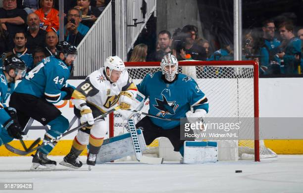 MarcEdouard Vlasic and Martin Jones of the San Jose Sharks defend the net against Jonathan Marchessault of the Vegas Golden Knights at SAP Center on...