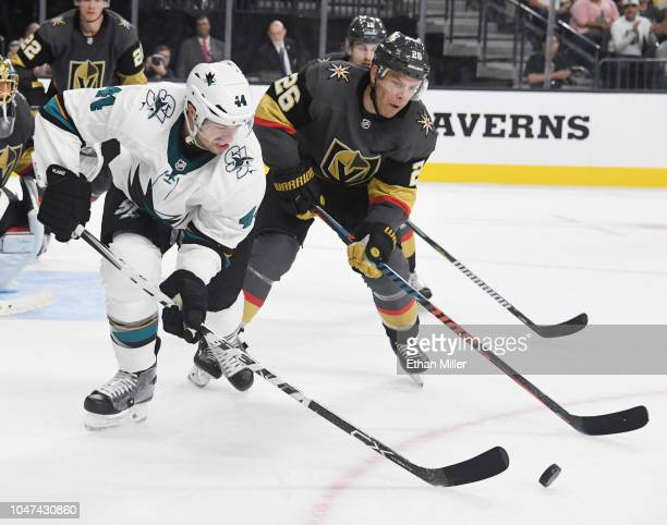 MarcEdouard Vlasic of the San Jose Sharks and Paul Stastny of the Vegas Golden Knights go after the puck in the third period of their preseason game...