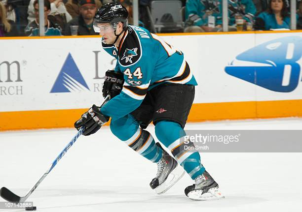 MarcEdouard Vlasic of the San Jose Sharks carries the puck against the Columbus Blue Jackets during an NHL game on November 20 2010 at HP Pavilion at...
