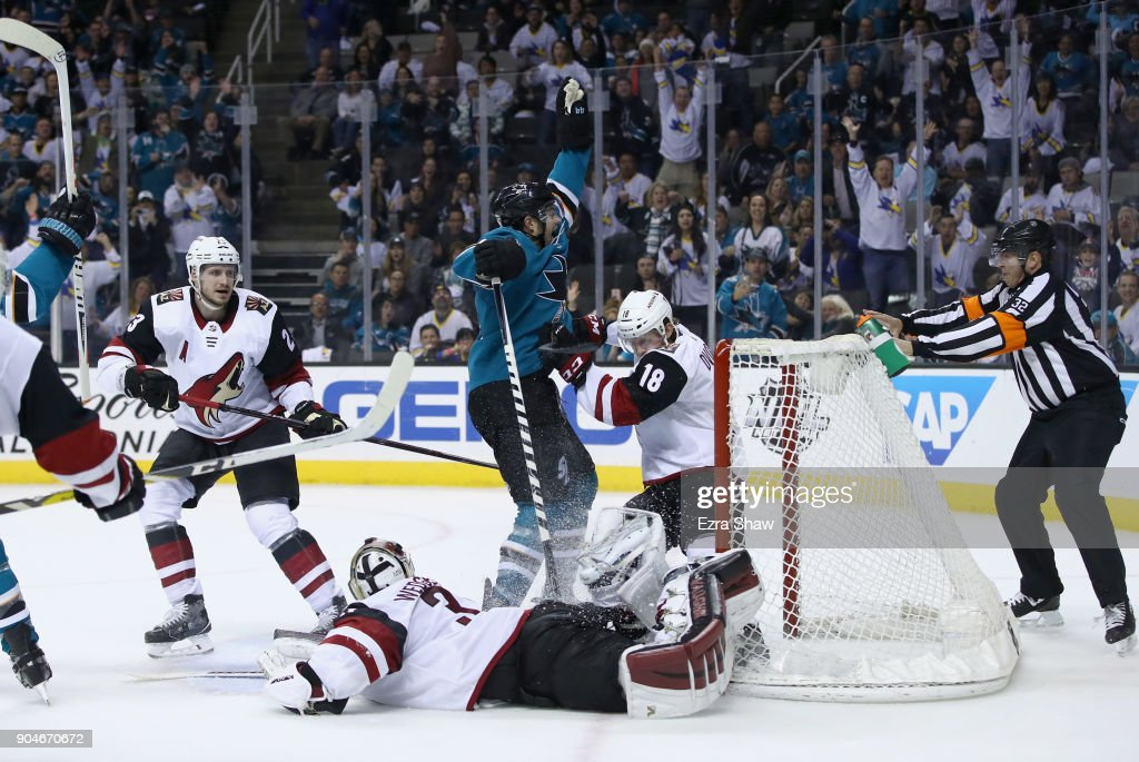 Marc-Edouard Vlasic #44 of the San Jose Sharks celebrates after scoring the winning goal in overtime against the Arizona Coyotes at SAP Center on January 13, 2018 in San Jose, California.