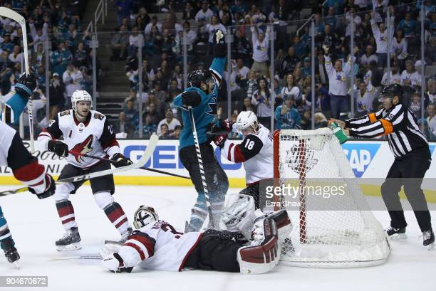 MarcEdouard Vlasic of the San Jose Sharks celebrates after scoring the winning goal in overtime against the Arizona Coyotes at SAP Center on January...