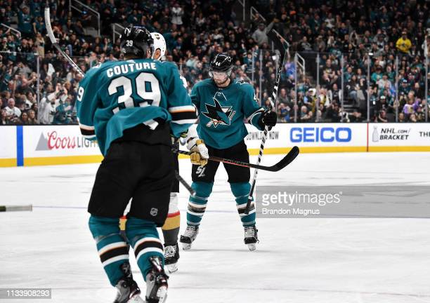 Marc-Edouard Vlasic of the San Jose Sharks celebrates scoring a goal against the Vegas Golden Knights at SAP Center on March 30, 2019 in San Jose,...