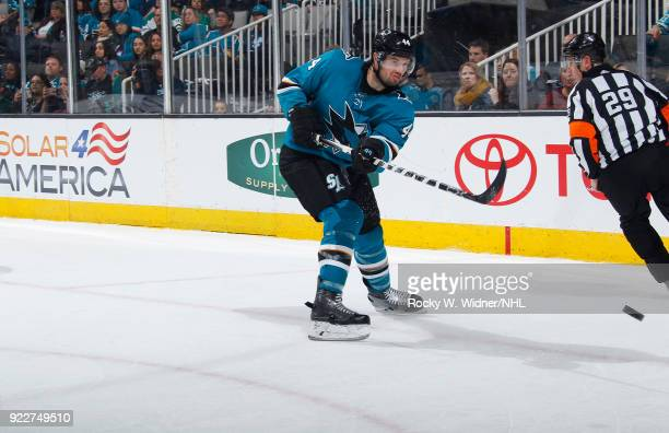 MarcEdouard Vlasic of the San Jose Sharks clears the puck against the Dallas Stars at SAP Center on February 18 2018 in San Jose California