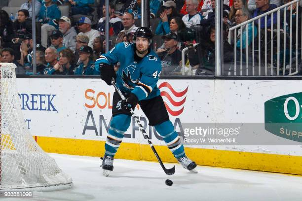 MarcEdouard Vlasic of the San Jose Sharks controls the puck against the Washington Capitals at SAP Center on March 10 2018 in San Jose California