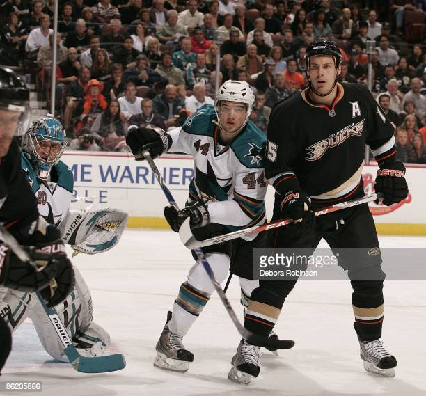 Marc-Edouard Vlasic of the San Jose Sharks defends against Ryan Getzlaf of the Anaheim Ducks during Game Four of the Western Conference Quarterfinal...