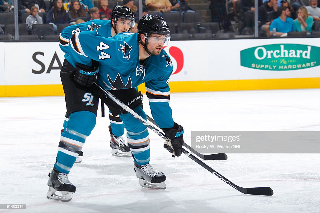 Marc-Edouard Vlasic #44 of the San Jose Sharks faces off against the Vancouver Canucks at SAP Center on September 29, 2015 in San Jose, California.