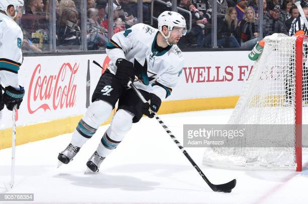MarcEdouard Vlasic of the San Jose Sharks handles the puck during a game against the Los Angeles Kings at STAPLES Center on January 15 2018 in Los...